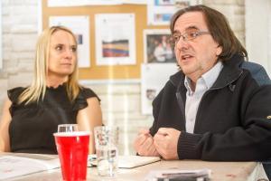 Julie Voyer (Gravité Média) et Charles Michaud (Topo Local) - Photo Denis Germain